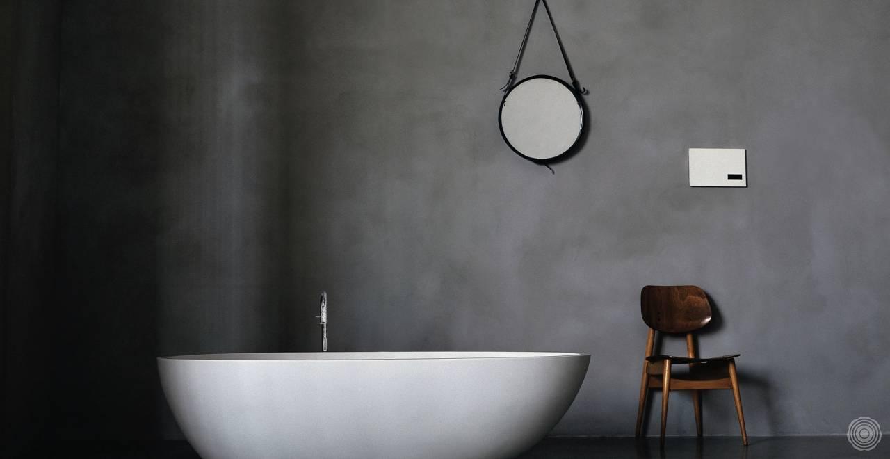 naadloze wand in badkamer